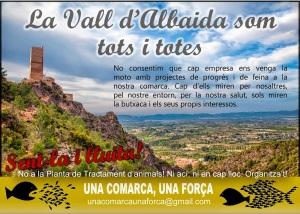 A la vall d'Albaida no volem que es pose un cementeri de residus animals que son perillosos i ningú els ha preguntat als veins si volem