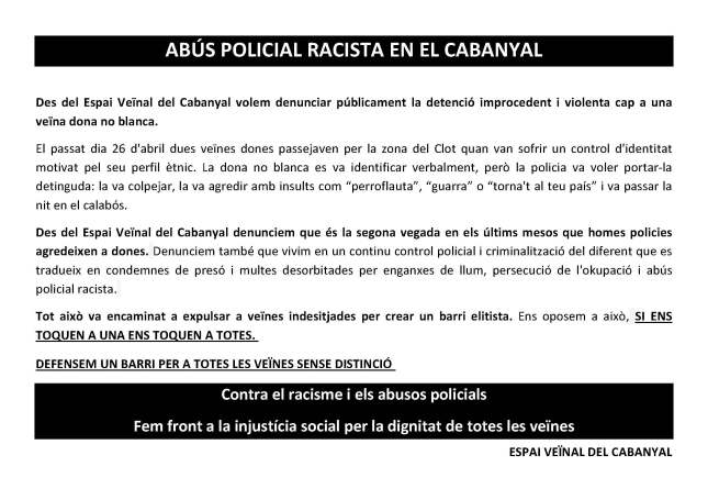 ABÚS POLICIAL RACISTA EN EL CABANYAL